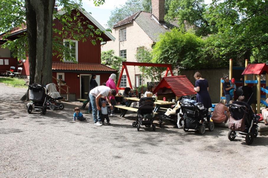 Hoveddelen av utearealene til barnehagen